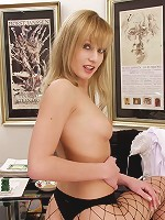 flexible blonde babe black fishnet stockings