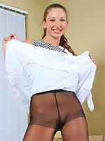 Beautiful amateur pulls up dress to tease you with her sleek nylon pantyhose